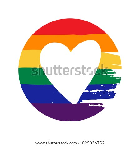 House icon with gay pride heart
