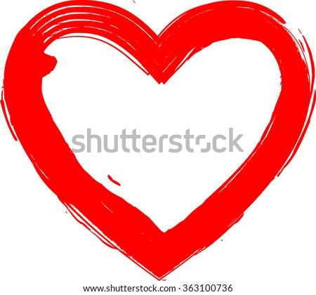 Grunge Heart. Red Heart. Heart Shape. Distressed Heart. Heart Texture. Valentine's Day Heart. Heart Background. Brush Stroke Heart. Vector Heart. - stock vector