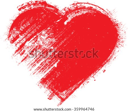 Grunge Heart . Red  Heart Shape. Distressed Heart Texture. Valentine's Day Background . Heart Background . Brush Stroke Heart . Vector . - stock vector