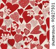 Grunge heart seamless pattern-gift wrapping and card background to the day of St. Valentine - stock vector