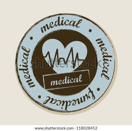 grunge heartbeats label, vintage style. vector illustration - stock vector