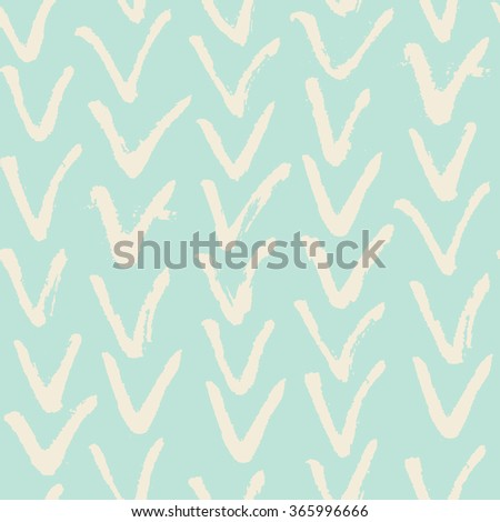 Grunge herringbone pattern. Monochrome vector seamless pattern. Abstract hand drawn background with brushed V symbol. - stock vector