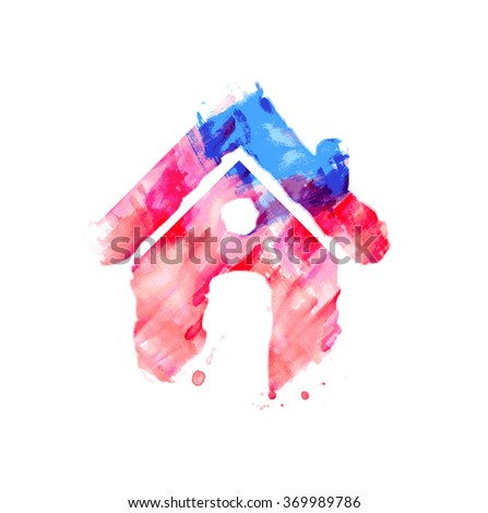Grunge Home icon design vector element. - stock vector
