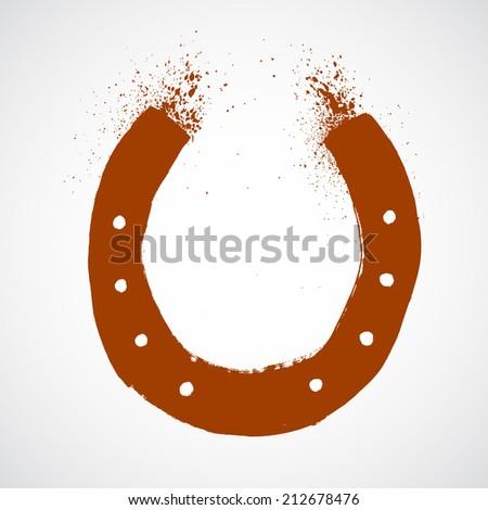 Grunge horseshoe - stock vector