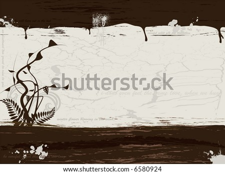 Grunge illustration in brown with plenty of copy space and a floral design - stock vector