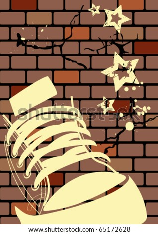Grunge illustration of a weathered wall and sneaker - stock vector