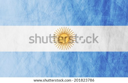 Grunge illustration of Argentinean flag. Vector background - stock vector