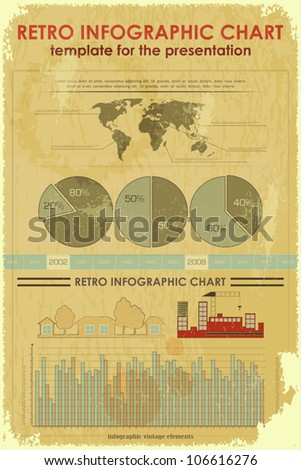 Grunge Infographic Elements with World Map - vintage items for presentation and visualization - vector illustration - stock vector