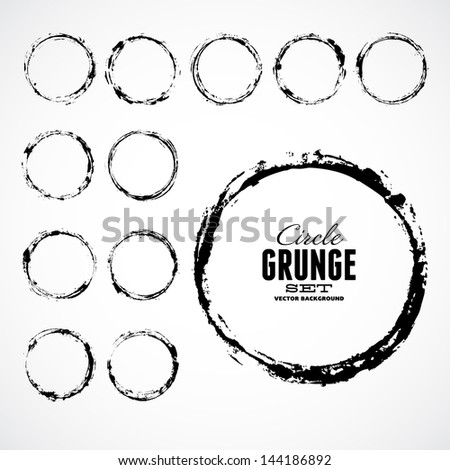 Grunge Ink Draw Vector Circle Background - stock vector