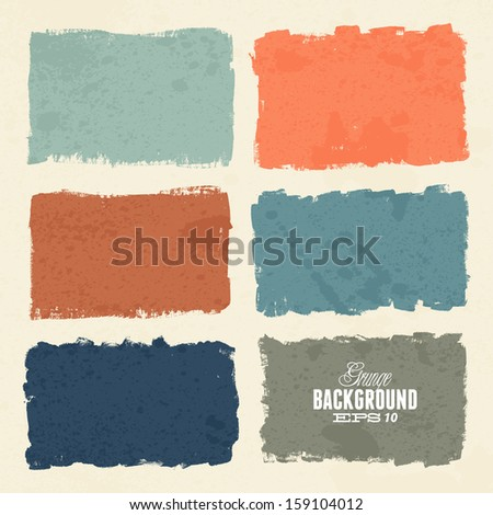 Grunge ink hand-drawn colorful shapes - stock vector