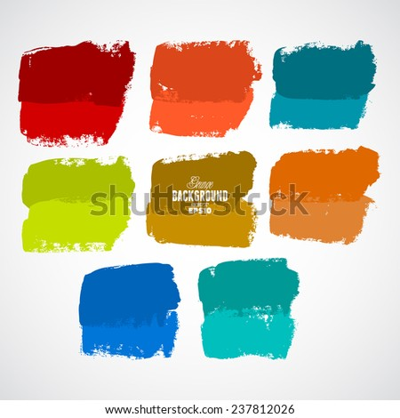 Grunge ink hand-drawn squares - stock vector