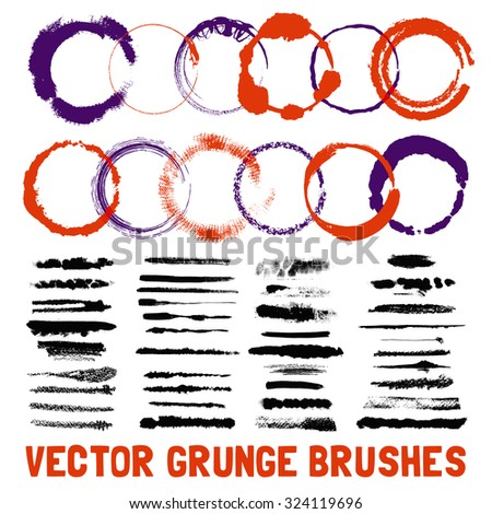 Grunge inked circle and line scuffed black and color brush styles with text set isolated vector illustration