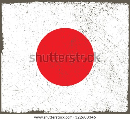 Grunge Japan flag.Japanese flag with grunge texture.Vector illustration.