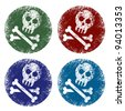 grunge jolly roger signs - stock vector