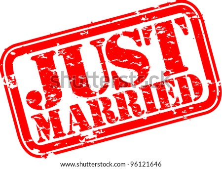 Grunge just married rubber stamp, vector illustration - stock vector