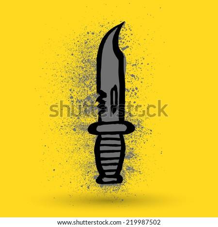 Grunge knife - stock vector