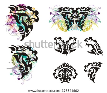Grunge lion head and lion head symbols. Tribal head of a furious lion in the form of a wing of a butterfly, a butterfly of a lion and lion's symbols isolated on a white background - stock vector