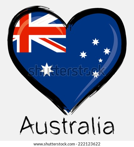 grunge love Australia flag - stock vector