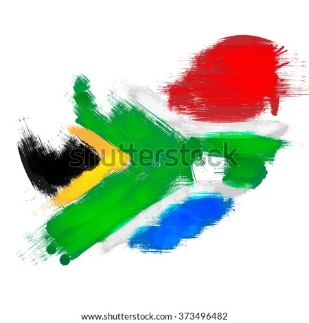 Grunge map of South Africa with South African flag - stock vector