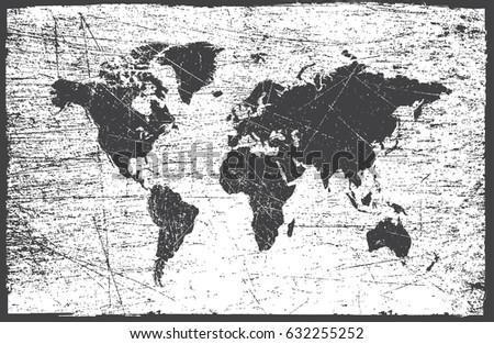 Grunge Map World Vintage World Map Stock Vector Shutterstock - Black and white vintage world map