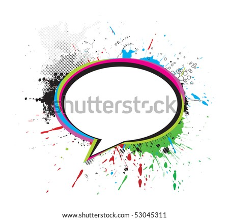 grunge messenger window icon vector illustration, isolated on white background - stock vector