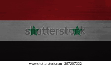Grunge messy flag Syria. Texture weathered, nation syrian, government nationality. Vector art design abstract unusual fashion illustration - stock vector