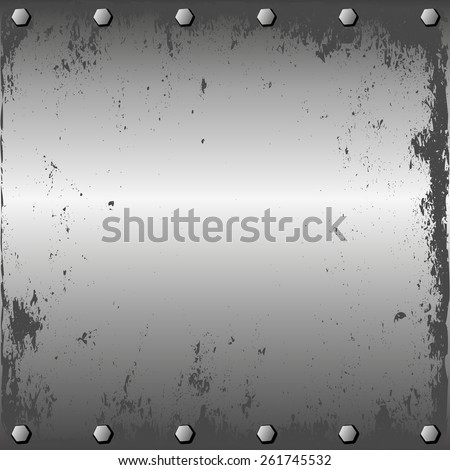grunge metal sheet with screws - stock vector