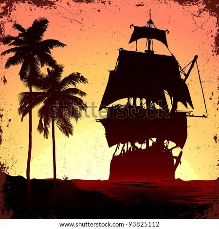 grunge mist pirate ship in ocean - stock vector