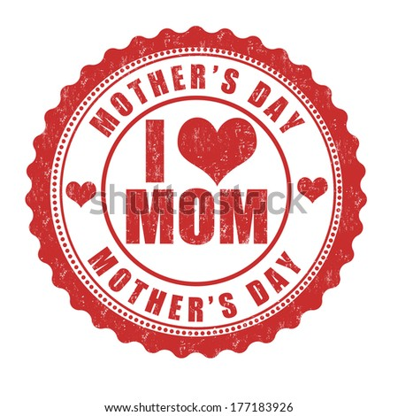 Grunge Mother's day rubber stamp on white, vector illustration - stock vector