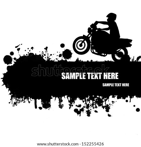 Grunge motocross poster with rider silhouette, vector illustration - stock vector