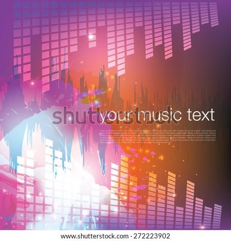 Grunge Music Background - stock vector