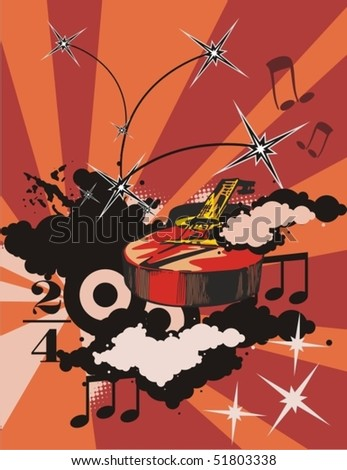 Grunge music background with a classic guitar. - stock vector