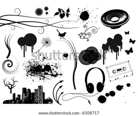 Grunge Music Elements - stock vector