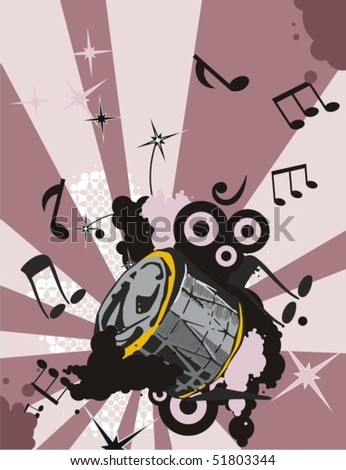Grunge music instrument background with a drum. - stock vector
