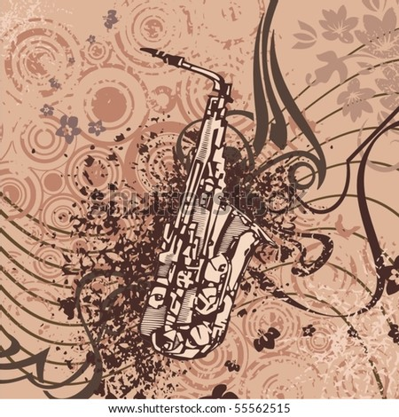 Grunge music instrument background with a saxophone. - stock vector