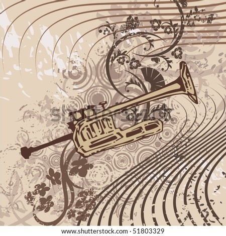 Grunge music instrument background with a trumpet. - stock vector