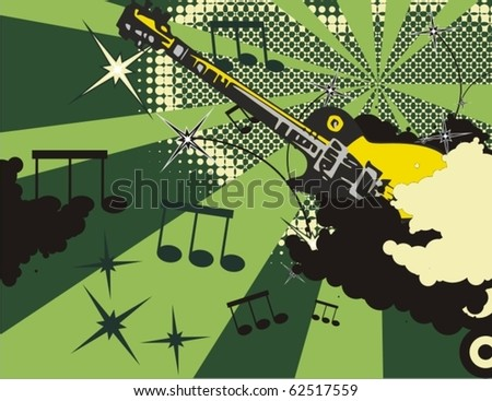 Grunge music instrument background with an electric. - stock vector