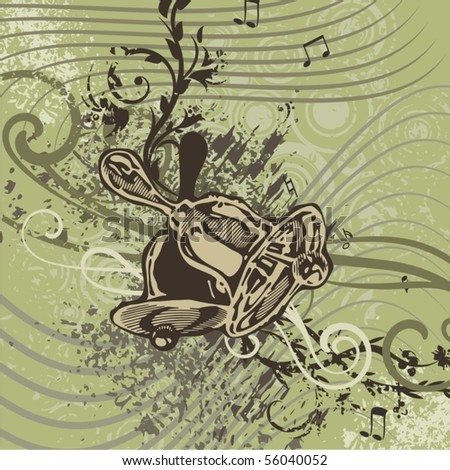 Grunge music instrument background with bells. - stock vector