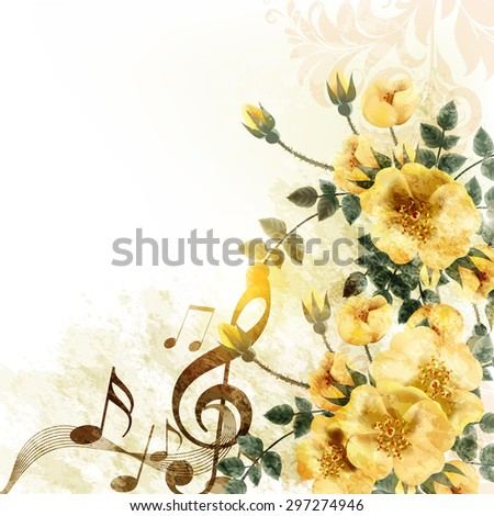 Grunge music romantic background with notes and roses - stock vector