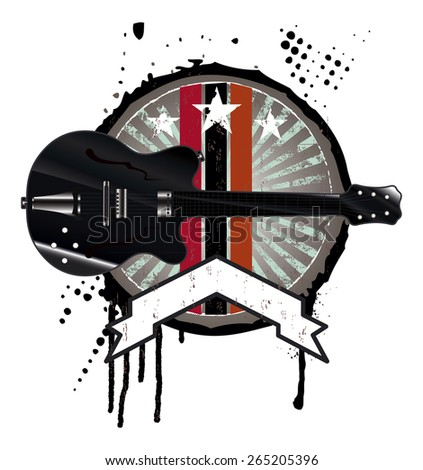 grunge music shield with black guitar and banner - stock vector