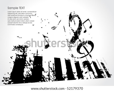 grunge musical background theme, vector Illustration - stock vector
