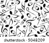 grunge musical notes black on white (vector) - background pattern - stock photo