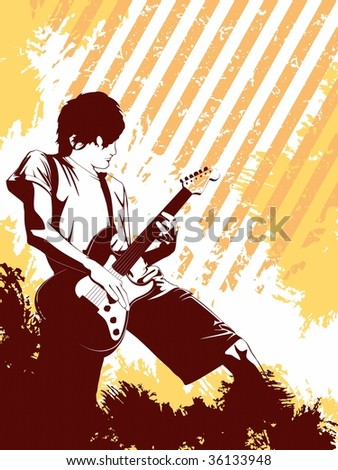 Grunge Musician in orange (vector); a JPG version is also available - stock vector