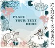 Grunge natural template (bird, elephant, flowers) with place for your text - stock vector