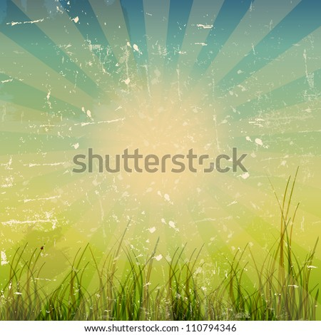 grunge nature background with space for text vector illustration - stock vector