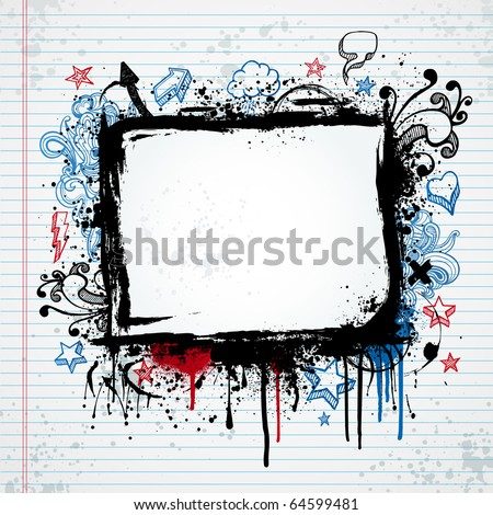 Grunge notebook illustration with paint splatter and sketched shapes - stock vector