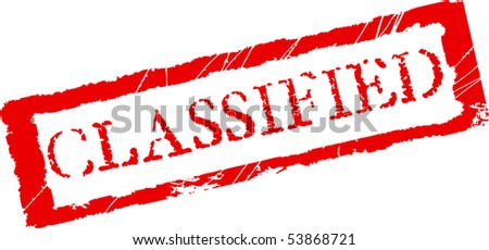 Grunge office stamp with the word Classified in red color - stock vector