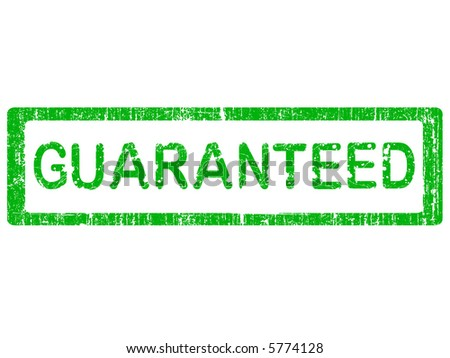 Grunge Office Stamp with the words GUARANTEED in a grunge splattered text. (Letters have been uniquely designed and created by hand) - stock vector