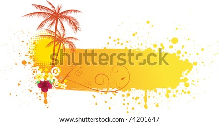 Grunge orange banner with palms and florals - stock vector