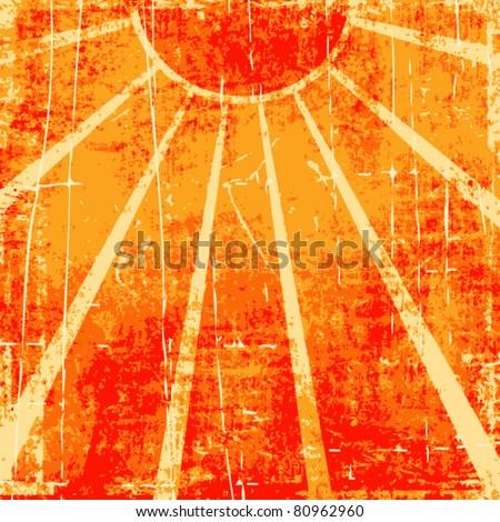 Grunge orange sun rays vector background - stock vector